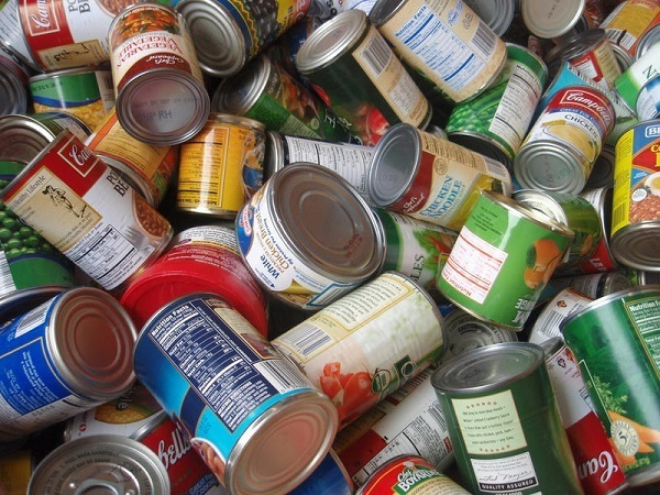 Pile of canned food.